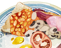 Watercolour Breakfast Food Illustrations