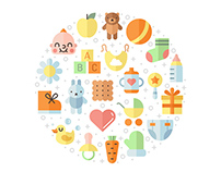 Baby (girl and boy) vector illustrations and patterns