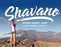 Shavano; a bold, flowing brush script font.