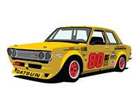 """Red Farmer"" Datsun 510 Race Car Illustration"