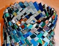 Blue Woven Chain, Woven Basket