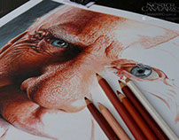 Malcolm McDowell in color pencils