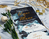 Navy Blue wedding Invitation Card