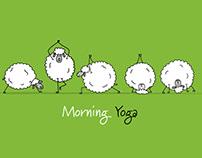 Morning Yoga. Funny Sheeps doing Asanas