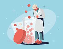 Pharmacist and drugs Illustration