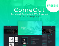 ComeOut - Portfolio/Resume Template | FREEBIE