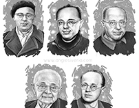 Illustrations of Stanislaw Lem's portraits for 5 books