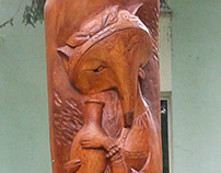 "sculpture ""Fox and Crane"""