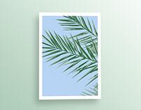 Blue Tropical Palm Wall Art Print