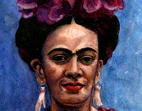 Frida Kahlo Watercolor Portrait