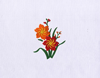 BREATHTAKINGLY ORANGE AND RED FLOWERS EMBROIDERY DESIGN