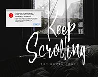 Keep Scrolling, handwritten font