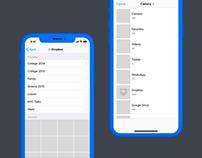 Instagram meets Dropbox: Wireframes + User Flow