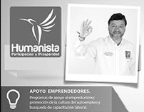 Publicidad para periódico del Partido Humanista.