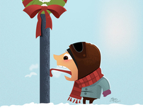 Tongue Stuck on Lamp Pole Christmas Card