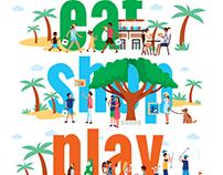EAT SHOP PLAY - illustration for Hawaiian Mall Center
