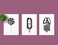 Hair food - Ballpoint pen illustrations