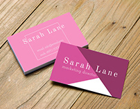 Pink and Purple business card with Diagonal Lines