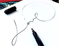Valuable words: mono line calligraphy