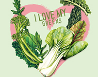 Food illustration. I love my Greens