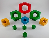 Cube from wooden toy bricks