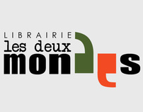 "Logotype for a library, ""Les deux mondes"""