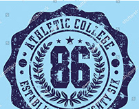 College seal badge graphic tees design vector art