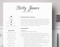 Professional resume template for word & Pages - Betty