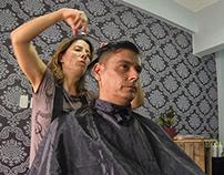 Pompadour Hair Style by Morgana Salón y Barbería