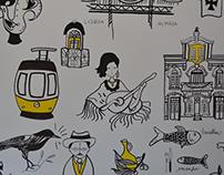 Parede Ilustrada Amo.te Lisboa