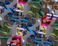 assorted 3D letter patterns