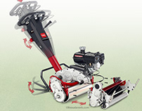 Golf roller, cutaway technical illustration