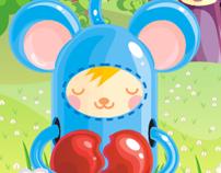 Card, 3 of hearts, kawai