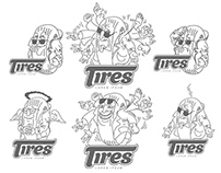 Logo templates with cartoon characters car tires