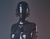 female cyborg studies, 3d lighting and texturing