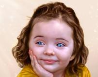 Niña de los Ojos Celestes / Ilustración Digital