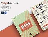 Vintage Style Restaurant menu template