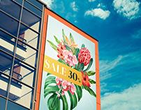 Free Glass Building Billboard Mockup