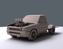 Burnout car - clay render