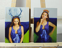 Stag-girl and Queen on panel