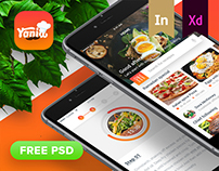 """Yonia"" food recipes iOS mobile app design (FREE PSD)"