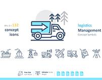 132 Logistics Management Concept Symbols