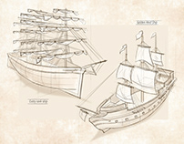 Sketches of ships, planes, cars