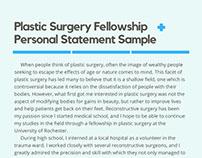 Plastic Surgery Fellowship Personal Statement Sample