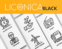 Liconica: back and white icons collection