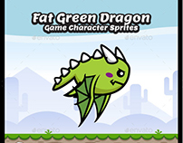 Fat Green Dragon Game Character Sprite Sheets
