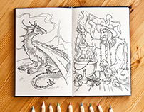 Fantasy Creatures Coloring Book Pages