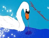 Swan christmas card single page