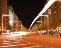 Trail of light in Zaragoza (Spain)