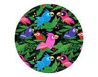 Fabric Pattern Pink Jungle Birds